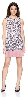 London Times Women's Petite Sleeveless Round Neck Cotton Shift Dress