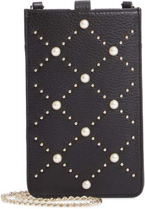 Kate Spade Imitation Pearl Studded Leather Phone Crossbody Bag