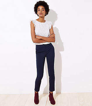 LOFT Tall Velvet Dot Skinny Ankle Pants in Marisa Fit