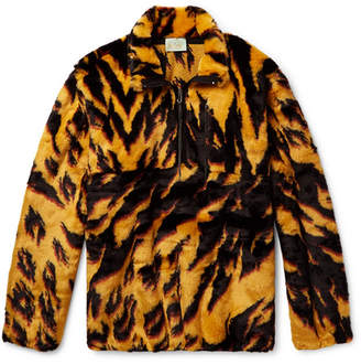 Aries Leopard-Print Faux Fur Half-Zip Jacket