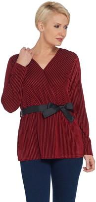 Brooke Shields Timeless BROOKE SHIELDS Timeless Burnout Velvet Stripe Top with Grosgrain Belt