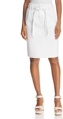 J Brand Tie-Waist Denim Skirt in White
