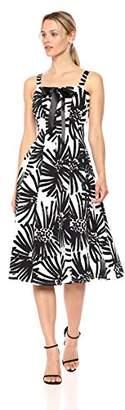 Taylor Dresses Women's Printed Lace up Bodice Sleeveless Dress