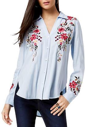 INC International Concepts Floral-Embroidered Hi-Lo Shirt