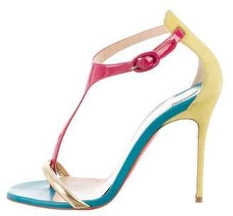 Christian Louboutin Colorblock T-Strap Sandals