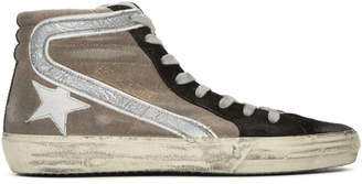 Golden Goose Beige and Black Slide High-Top Sneakers