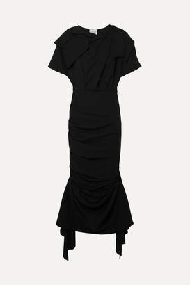 Awake Draped Stretch-crepe Maxi Dress - Black