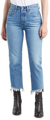 Levi's Premium 501 Cropped Straight Jeans with Shredded Hem