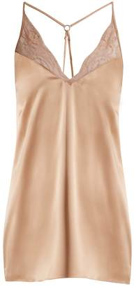 Fleur of England Caramel lace-trimmed silk-blend satin slip dress