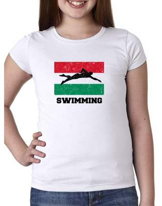 Hollywood Thread Hungary - Olympic - Swimming - Flag - Silhouette Girl's Cotton Youth T-Shirt