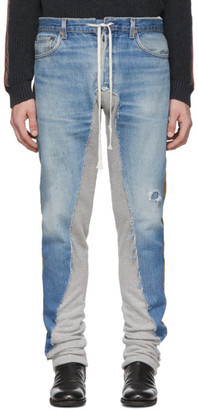 Greg Lauren Blue 50/50 Denim Terry Royal Jeans
