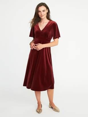 Old Navy Fit & Flare Velvet Midi Dress for Women