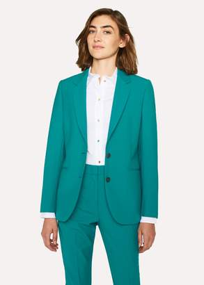 Paul Smith Women's Turquoise Two-Button Wool-Blend Blazer