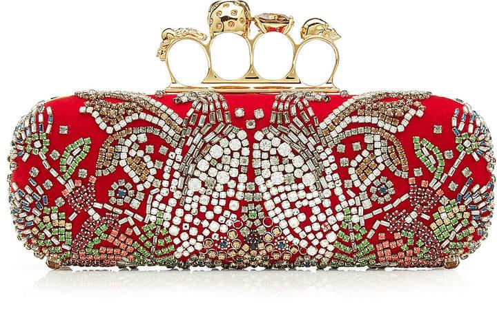 Alexander McQueen Embellished Satin Knuckle Clutch