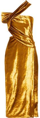 One-shoulder Cutout Velvet Midi Dress - Gold