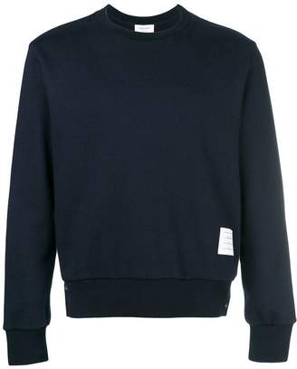 Thom Browne Center-Back Stripe Loopback Knit Crewneck Pullover