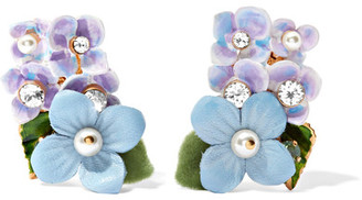 Dolce & Gabbana - Gold-plated, Swarovski Crystal, Leather And Faux Pearl Clip Earrings $545 thestylecure.com