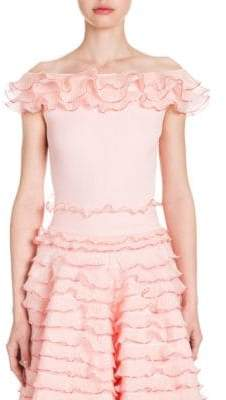 Alexander McQueen Off-the-Shoulder Ruffle Top
