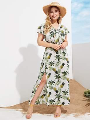 Shein Plus Bow Tie Pineapple Split Side Print Dress