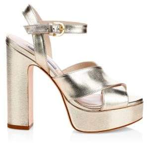 Stuart Weitzman Joni Metallic Leather Platform Sandals
