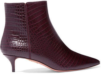 Aquazzura Quant Croc-effect Leather Ankle Boots - Plum