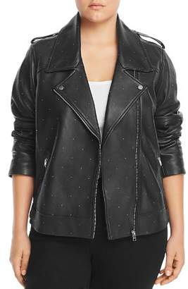 Lucky Brand Plus Studded Leather Moto Jacket