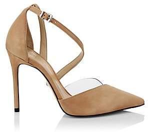 Schutz Women's Nissy Ankle-Strap Suede d'Orsay Pumps