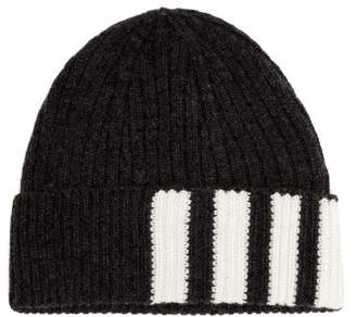 Thom Browne Striped Ribbed Knit Cashmere Beanie - Mens - Grey