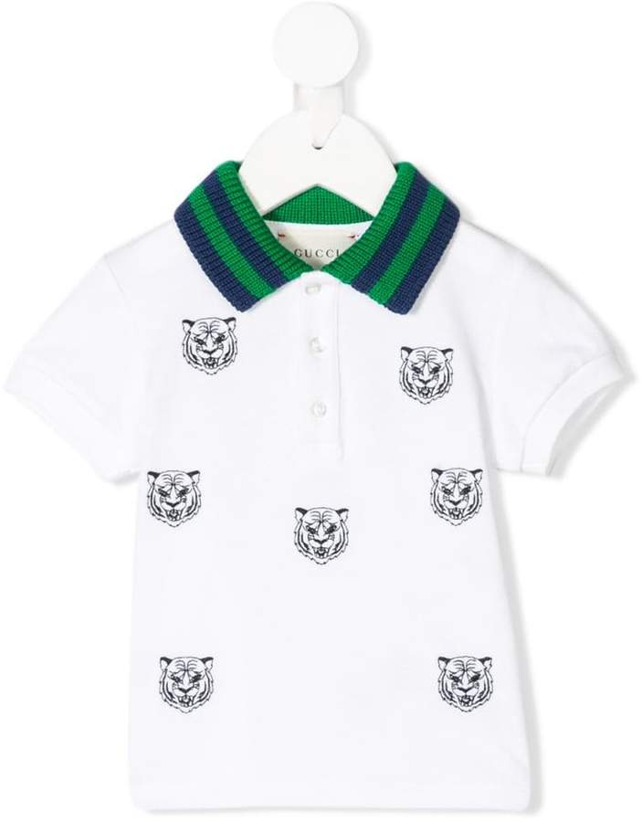 Gucci Kids roaring tiger embroidered polo shirt