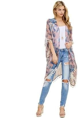 Riah Fashion Floral Tassel Kimono Cardigan