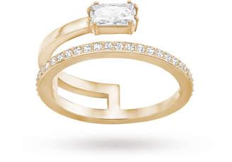 Swarovski Rose Gold Plated Grey Ring - Ring Size N