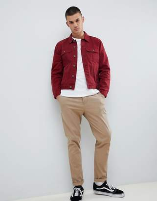 Asos DESIGN denim jacket in red