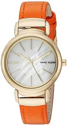 Anne Klein Women's AK/2752MPOR Gold-Tone and Orange Leather Strap Watch