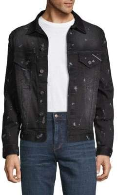 Cult of Individuality Distressed Spread Collar Denim Jacket