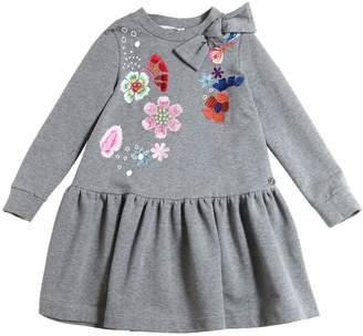 Simonetta Embroidered Cotton Sweatshirt Dress