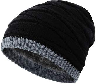 787a2669e43 Novawo Men s Fashion Design Knit Thicken and Fleece Lining Beanie Cap Winter  Warm Hat