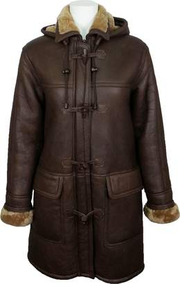 Christian Dior Unicorn London UNICORN Womens Hooded Sheepskin Duffle Coat Brown With Ginger Fur Real Leather Jacket #CD