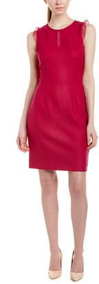 Elie Tahari Silk-Trim Wool-Blend Sheath Dress