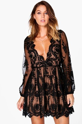 boohoo Boutique Lace Plunge Skater Dress