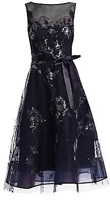e22d8a212a Teri Jon by Rickie Freeman by Rickie Freeman Women s Lace Appliqué Illusion  Neckline Tulle Belt Dress