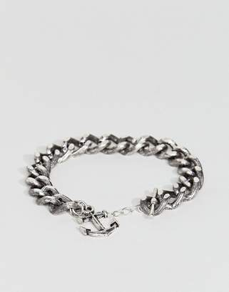 Asos Embossed Chain Bracelet With Anchor