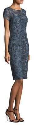 Aidan Mattox Short-Sleeve Beaded Sheath Dress