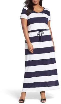 Caslon Knit Drawstring Waist Maxi Dress (Plus Size)