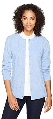 Sag Harbor Women's Long Sleeve Button Front Cardigan