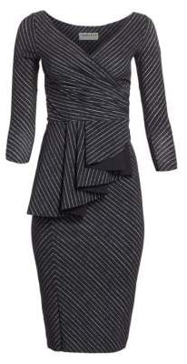 Chiara Boni Women's Ariane Pinstriped Ruffled Sheath Dress - Black White - Size 36 (0)