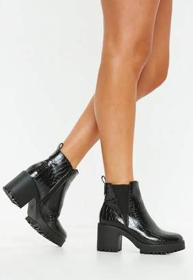 Missguided Black Croc Chunky Chelsea Ankle Boot