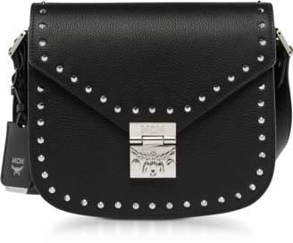 MCM Black Patricia Studded Outline Park Avenue Small Shoulder Bag