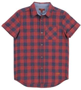 7 For All Mankind Kids Boys Xs-Xl Short Sleeve Shirt In Merlot Plaid