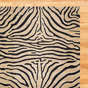 Zebra Wool Rug, Neutral