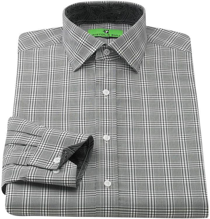 Bristol & bull classic-fit plaid contrast-cuff spread-collar dress shirt